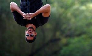 Magician David Blaine performs a stunt in Central Park in New York